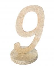 Centre de table chiffre 9 bois pailleté champagne 20 cm