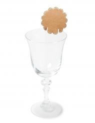 8 Marque-places feston kraft pailletés champagne 6 cm