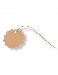 8 Etiquettes en feston kraft paillettés argentés 5,5 cm