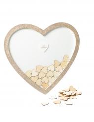 Cadre livre d'or pailleté avec cœurs en bois