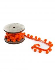 Ruban pompons oranges 2,2 cm x 2 m