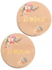 2 Badges Le Marié La Mariée folk 5 cm
