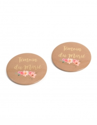 2 Badges Témoin du Marié folk 5 cm