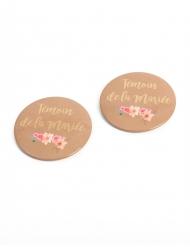 2 Badges Témoin de la Mariée folk 5 cm