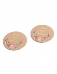 2 Badges Team de la Mariée folk 5 cm