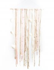 Tenture rose, blanc et ivoire 60 x 108 cm