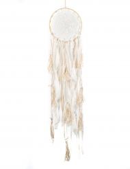 Attrape rêves en dentelle et pompons ivoire et blanc 23 x 85 cm