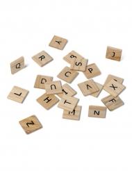 60 Lettres alphabet en bois façon scrabble 2 cm