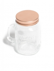 Mason jar en verre rose gold 8,5 cm