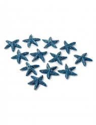 12 Etoiles de mer adhésives bleues 2 cm