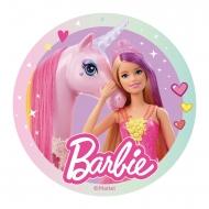 Disque azyme Barbie™ avec licorne 20 cm