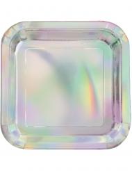 8 Assiettes carrées en carton iridescent 23 cm