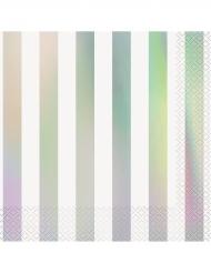 16 Serviettes en papier blanc et iridescent 33 x 33 cm