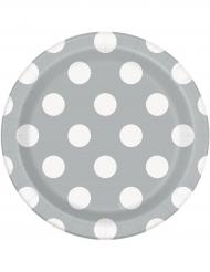 8 Petites assiettes en carton grises à pois blancs 18 cm