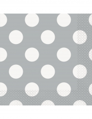 16 Serviettes en papier grises à pois blancs 33 x 33 cm