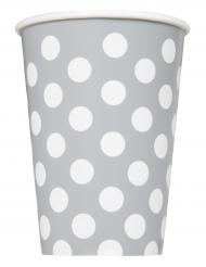6 Gobelets en carton gris à pois blancs 266 ml