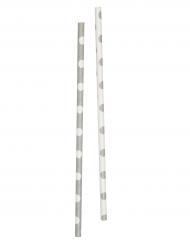 10 Pailles en carton blanches et grises à pois 21 cm