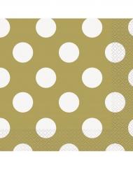 16 Serviettes en papier dorées à pois blancs 33 x 33 cm