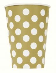 6 Gobelets en carton dorés à pois blancs 266 ml