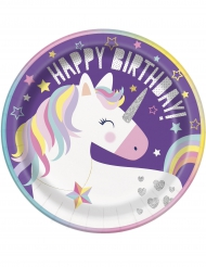 8 Assiettes en carton Happy Birhtday Licorne Party 23 cm