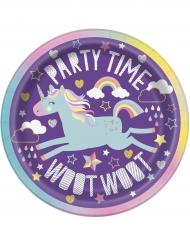8 Petites assiettes en carton Licorne Party 18 cm