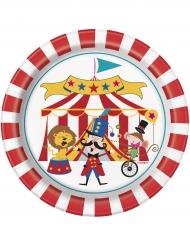 8 Petites assiettes en carton Cirque 18 cm