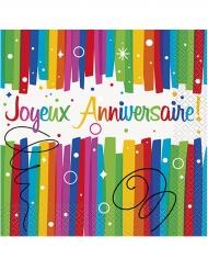 16 Serviettes en papier Joyeux Anniversaire multicolores 33 x 33 cm