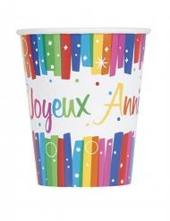 8 Gobelets en carton Joyeux Anniversaire multicolores 266 ml