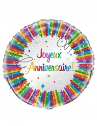 Ballon aluminium Joyeux Anniversaire multicolore 45 cm
