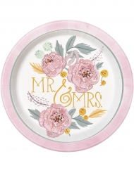 8 Assiettes en carton Mr & Mrs florales roses et blanches 23 cm