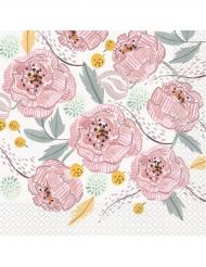 16 Serviettes en papier Mr & Mrs florales roses et blanches 33 x 33 cm