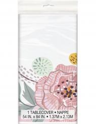 Nappe en plastique Mr & Mrs florale rose et blanche 137 x 213 cm