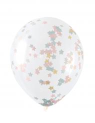 5 Ballons en latex avec confettis étoiles pastel 30 cm