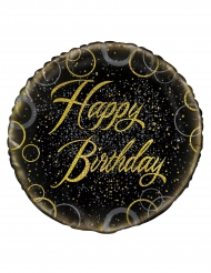 Ballon aluminium Happy Birthday doré 45 cm