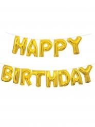 Ballons aluminium lettres Happy Birthday doré 35 cm