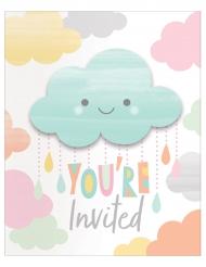 8 Cartons d'invitation Petit Nuage 10 x 12 cm