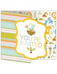 8 Cartons d'invitation Jungle rayés multicolores 10 x 12 cm