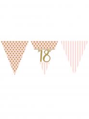Guirlande fanions en papier 18 ans rose et or 3,7 m