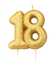 Bougie d'anniversaire sur pique 18 ans doré pailleté 7 cm