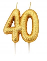 Bougie d'anniversaire sur pique 40 ans doré pailleté 7 cm