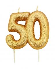 Bougie d'anniversaire sur pique 50 ans doré pailleté 7 cm