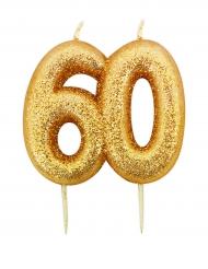 Bougie d'anniversaire sur pique 60 ans doré pailleté 7 cm