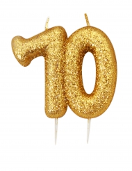 Bougie d'anniversaire sur pique 70 ans doré pailleté 7 cm