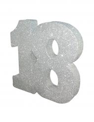 Décoration de table 18 ans argent pailleté 20 x 20 cm