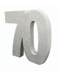 Décoration de table 70 ans argent pailleté 20 x 20 cm