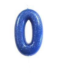 Bougie sur pique chiffre 0 bleu pailleté 7 cm