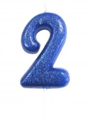 Bougie sur pique chiffre 2 bleue pailleté 7 cm
