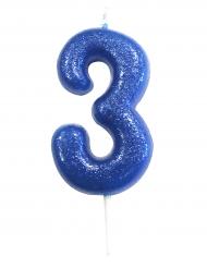 Bougie sur pique chiffre 3 bleu pailleté 7 cm