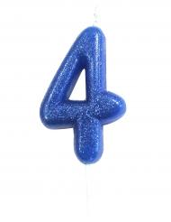Bougie sur pique chiffre 4 bleu pailleté 7 cm