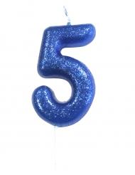 Bougie sur pique chiffre 5 bleu pailleté 7 cm